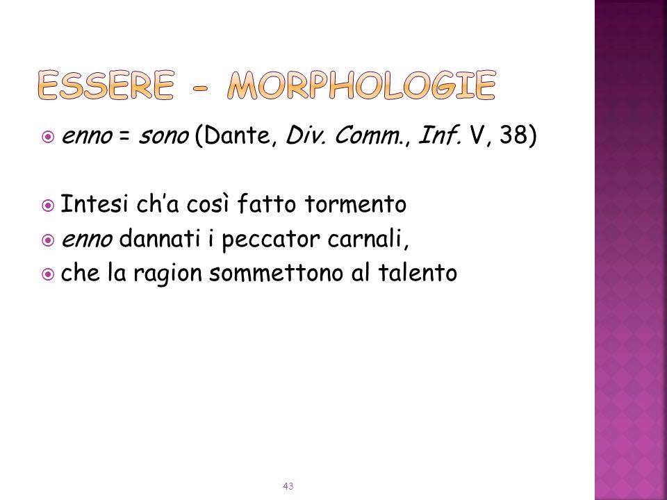 ESSERE - Morphologie enno = sono (Dante, Div. Comm., Inf. V, 38)