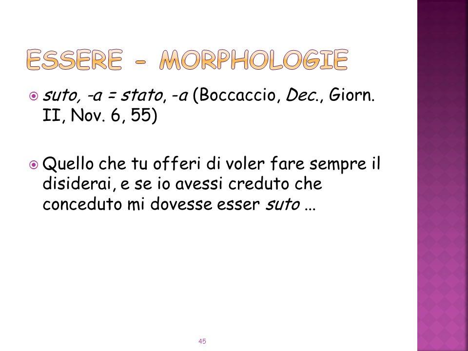 ESSERE - Morphologie suto, -a = stato, -a (Boccaccio, Dec., Giorn. II, Nov. 6, 55)