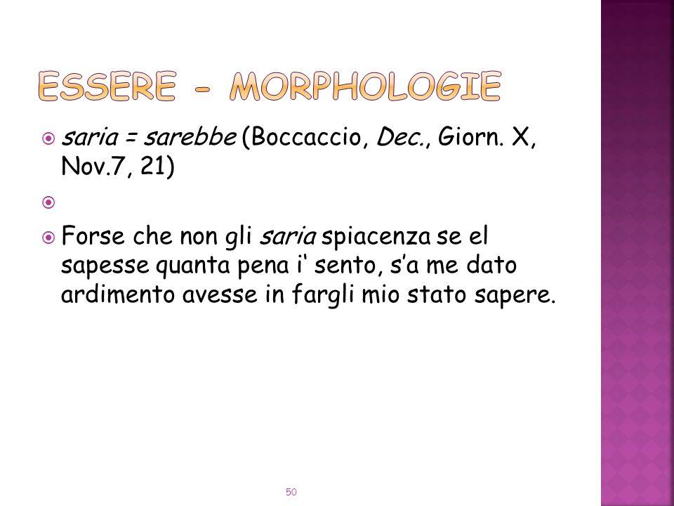 ESSERE - Morphologie saria = sarebbe (Boccaccio, Dec., Giorn. X, Nov.7, 21)