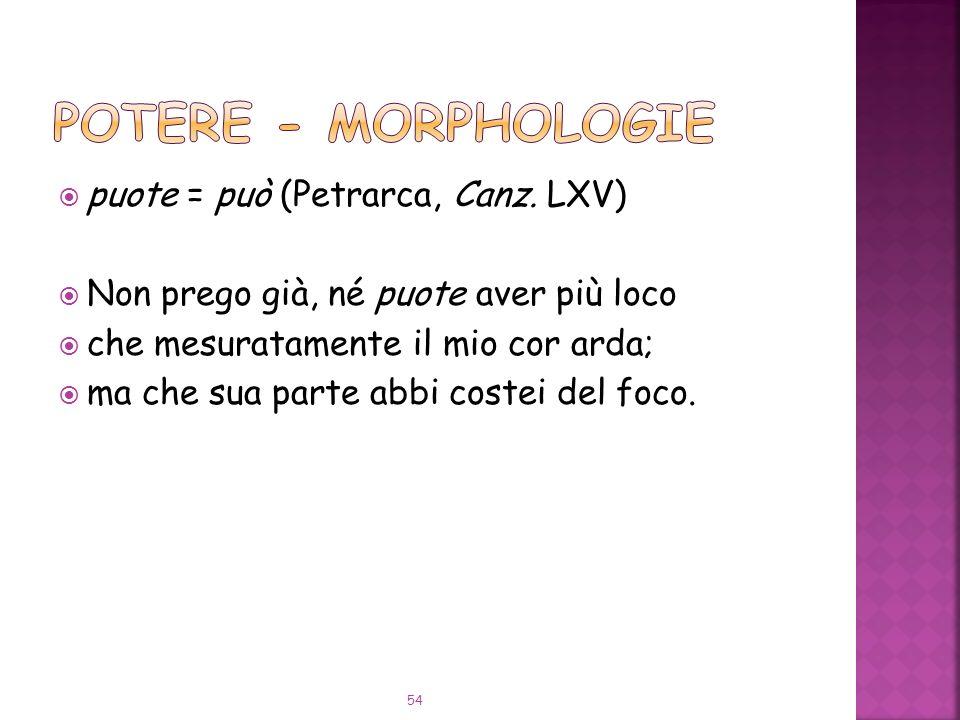 POTERE - Morphologie puote = può (Petrarca, Canz. LXV)