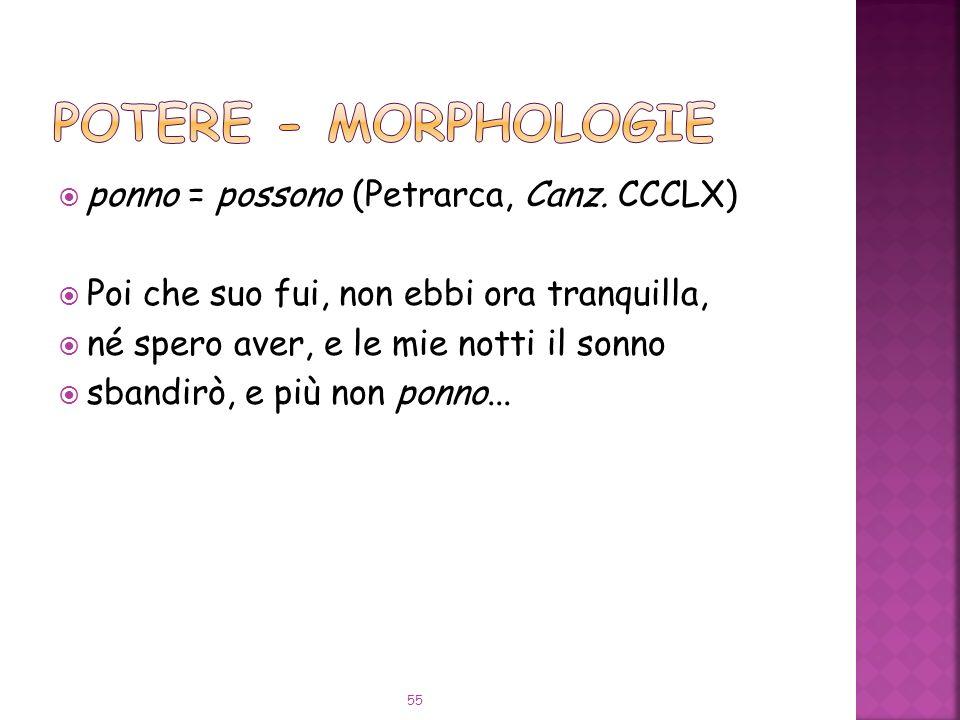 POTERE - Morphologie ponno = possono (Petrarca, Canz. CCCLX)