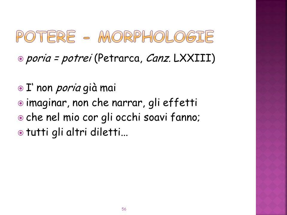 POTERE - Morphologie poria = potrei (Petrarca, Canz. LXXIII)