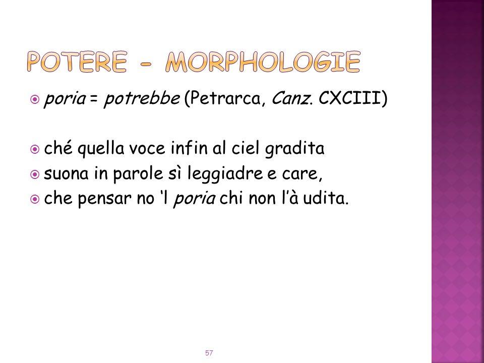 POTERE - Morphologie poria = potrebbe (Petrarca, Canz. CXCIII)