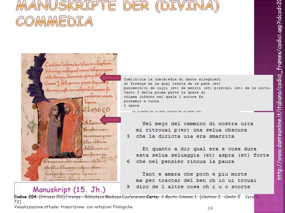 Manuskripte der (Divina) Commedia