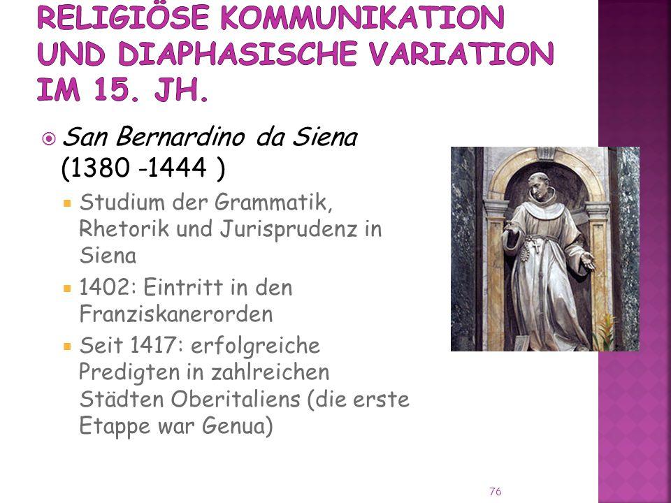 Religiöse Kommunikation und diaphasische Variation im 15. Jh.