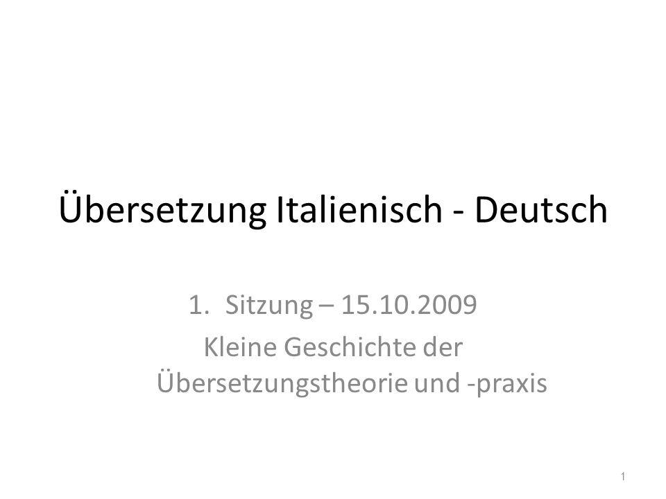 Übersetzung Italienisch - Deutsch