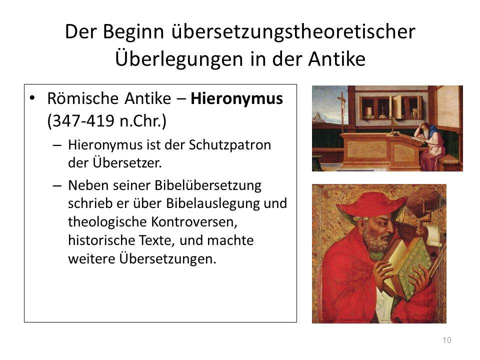 Der Beginn übersetzungstheoretischer Überlegungen in der Antike