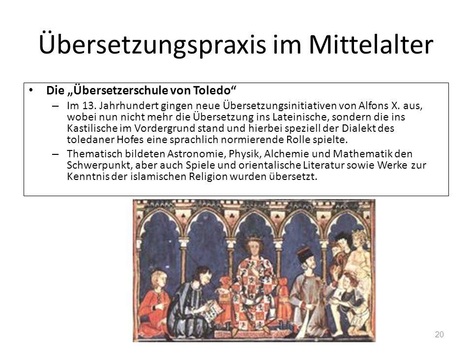Übersetzungspraxis im Mittelalter