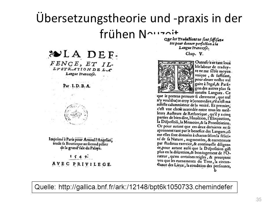 Übersetzungstheorie und -praxis in der frühen Neuzeit