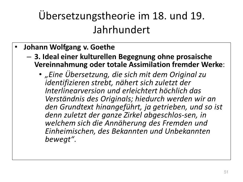 Übersetzungstheorie im 18. und 19. Jahrhundert