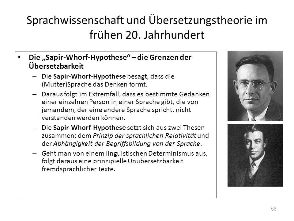 Sprachwissenschaft und Übersetzungstheorie im frühen 20. Jahrhundert