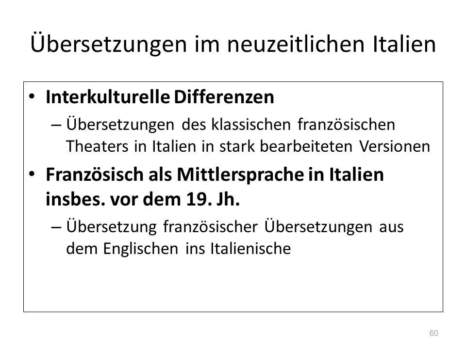 Übersetzungen im neuzeitlichen Italien