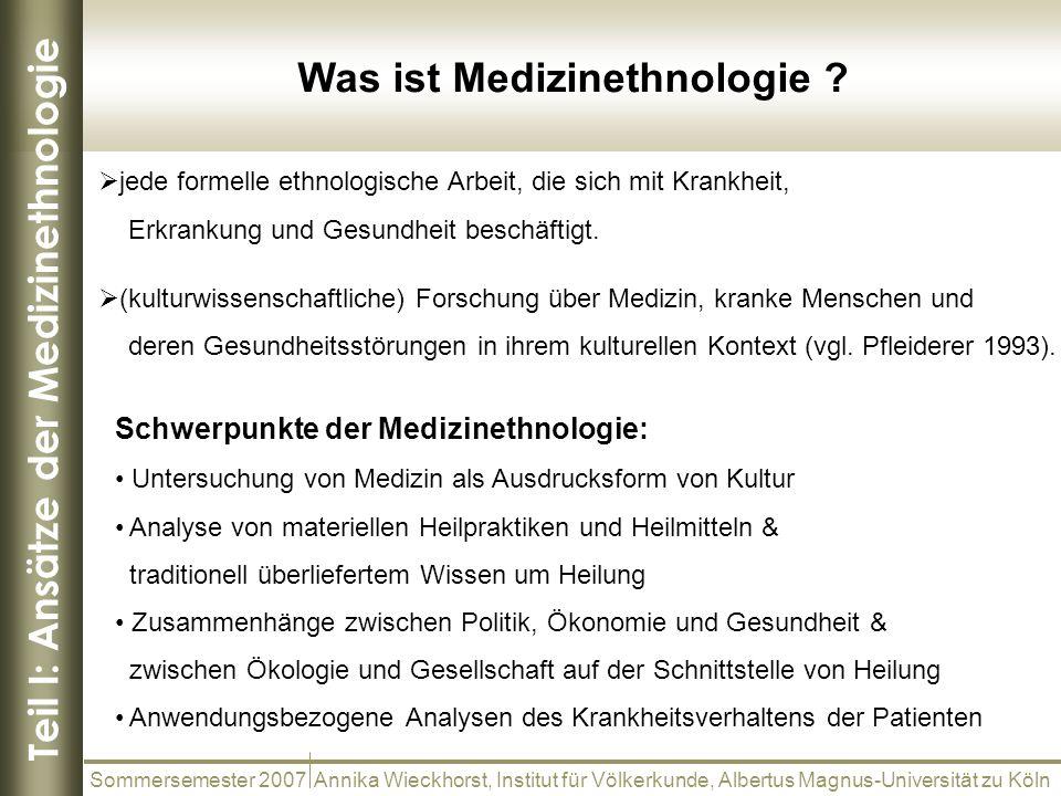 Teil I: Ansätze der Medizinethnologie