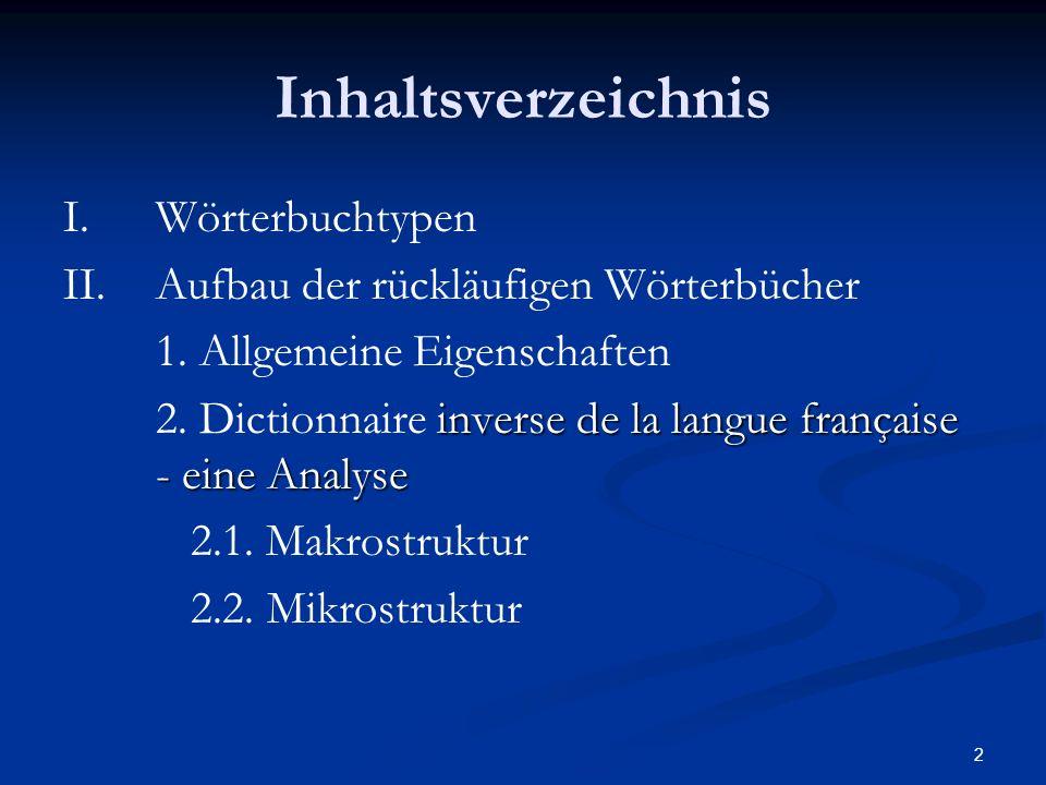 Inhaltsverzeichnis I. Wörterbuchtypen