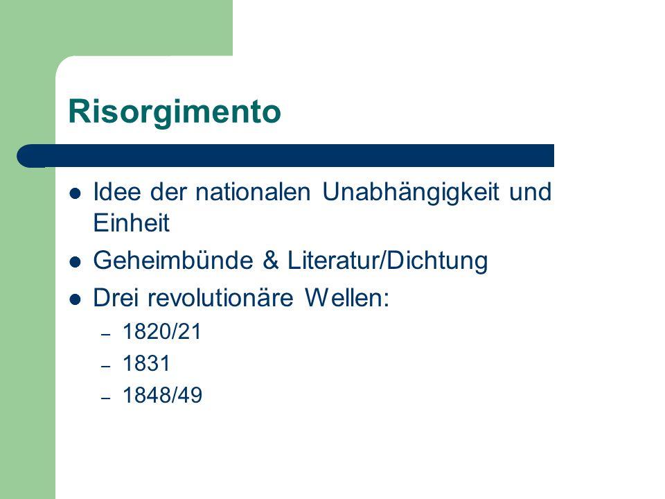 Risorgimento Idee der nationalen Unabhängigkeit und Einheit