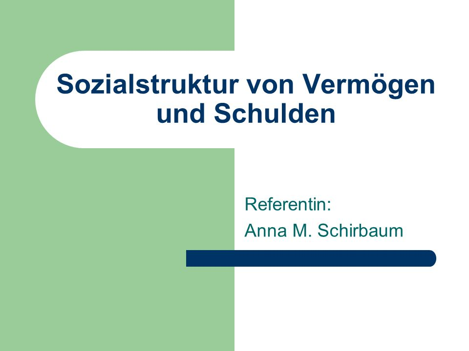 Sozialstruktur von Vermögen und Schulden