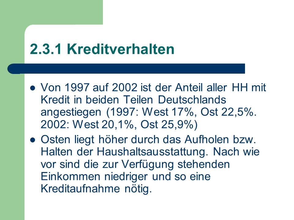 2.3.1 Kreditverhalten