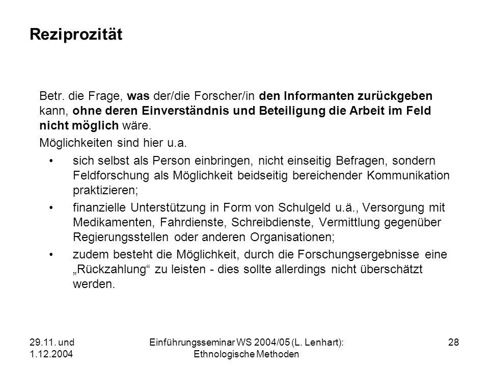 Einführungsseminar WS 2004/05 (L. Lenhart): Ethnologische Methoden
