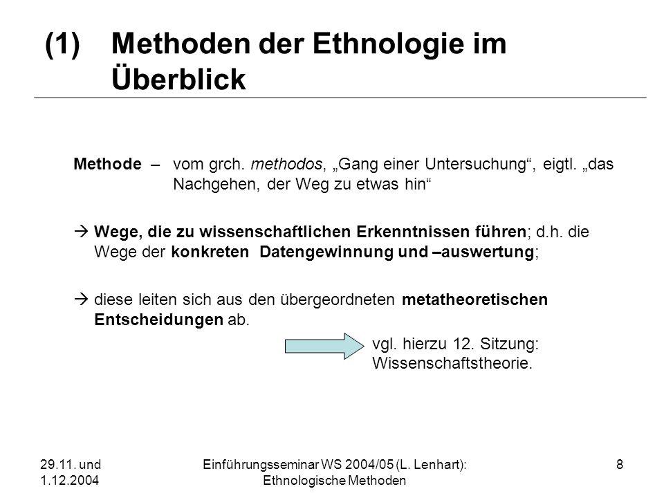 (1) Methoden der Ethnologie im Überblick