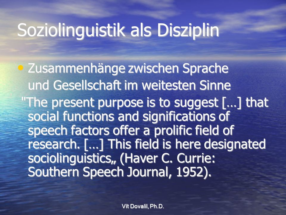 Soziolinguistik als Disziplin