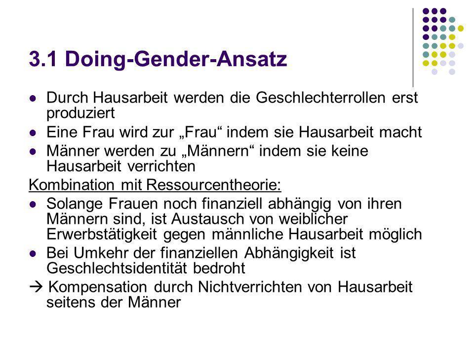 """3.1 Doing-Gender-Ansatz Durch Hausarbeit werden die Geschlechterrollen erst produziert. Eine Frau wird zur """"Frau indem sie Hausarbeit macht."""