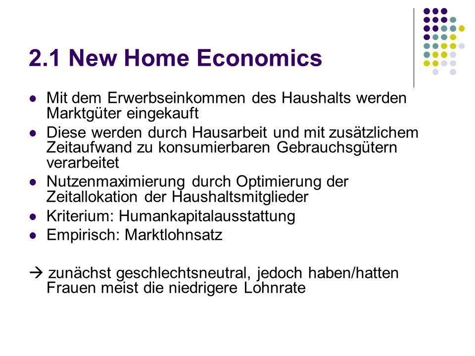 2.1 New Home Economics Mit dem Erwerbseinkommen des Haushalts werden Marktgüter eingekauft.