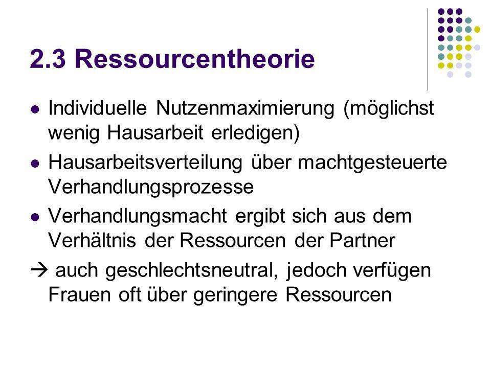 2.3 Ressourcentheorie Individuelle Nutzenmaximierung (möglichst wenig Hausarbeit erledigen)