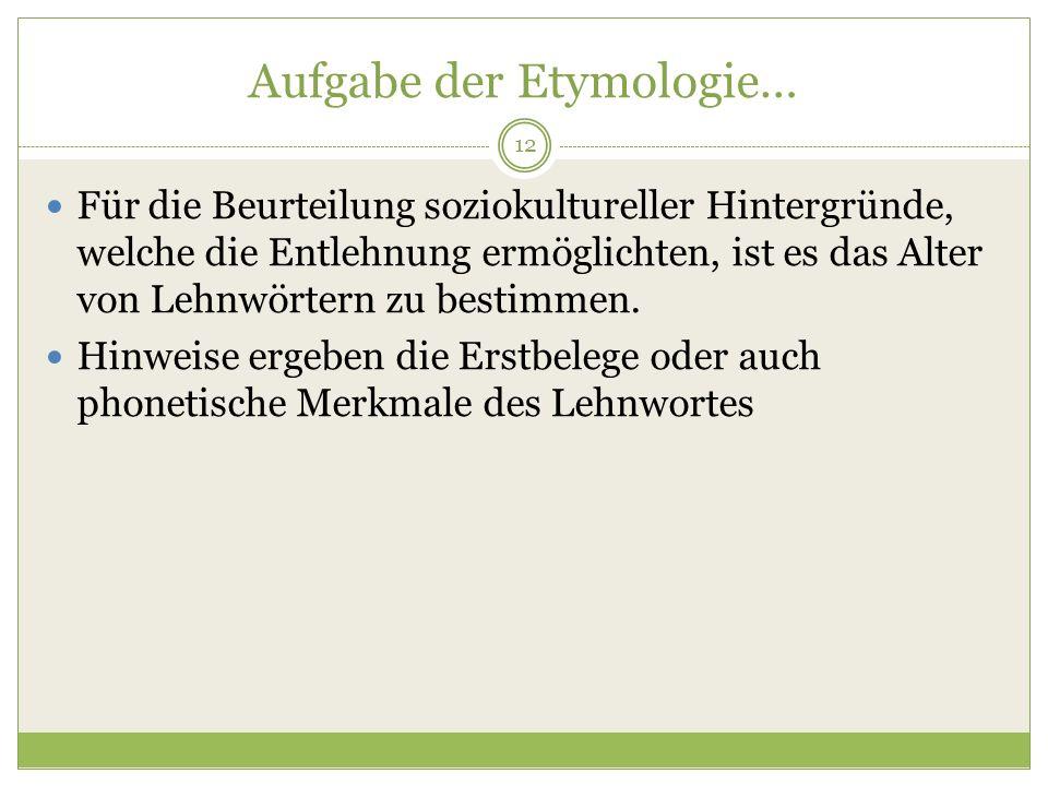Aufgabe der Etymologie…