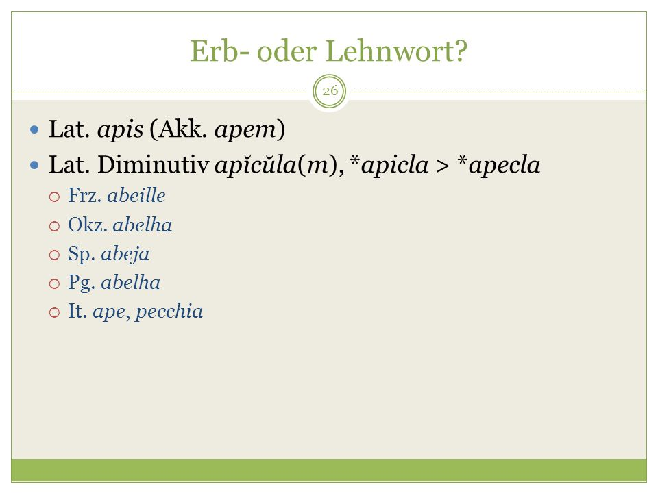 Erb- oder Lehnwort Lat. apis (Akk. apem)