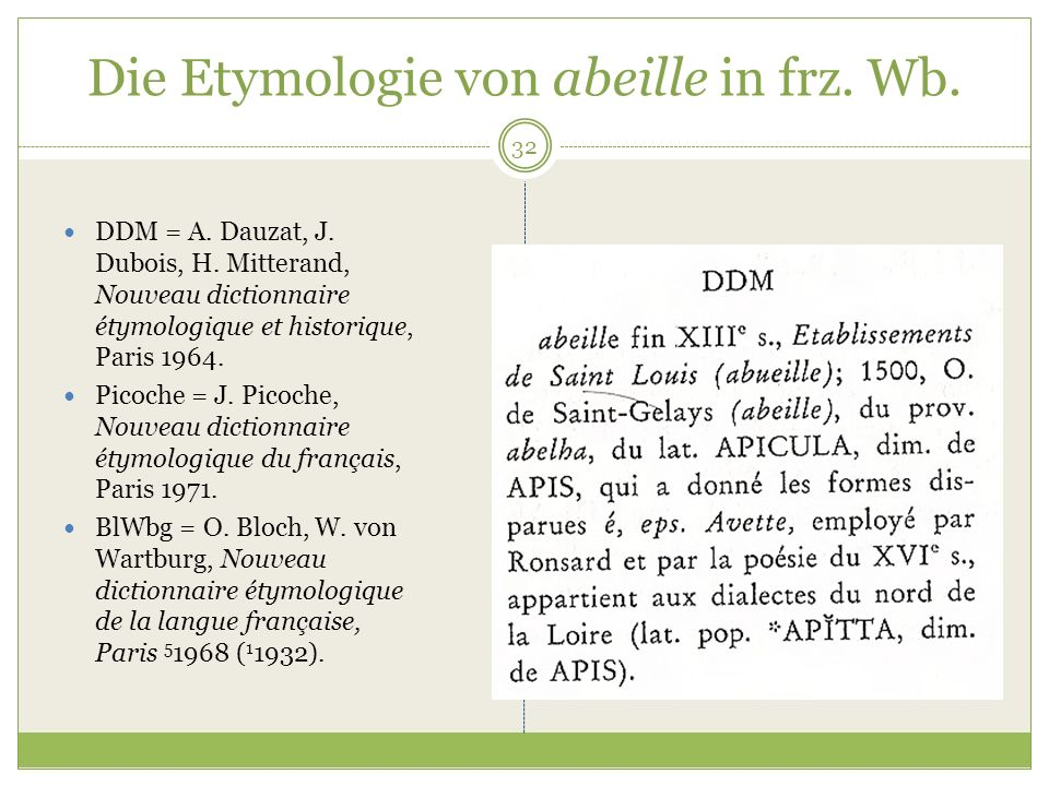 Die Etymologie von abeille in frz. Wb.
