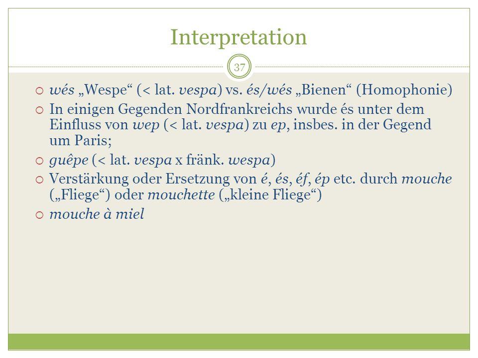"""Interpretationwés """"Wespe (< lat. vespa) vs. és/wés """"Bienen (Homophonie)"""