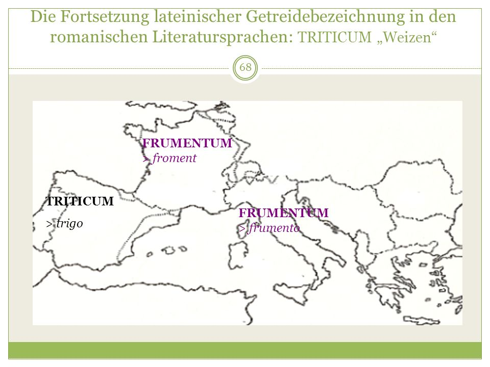 """Die Fortsetzung lateinischer Getreidebezeichnung in den romanischen Literatursprachen: TRITICUM """"Weizen"""