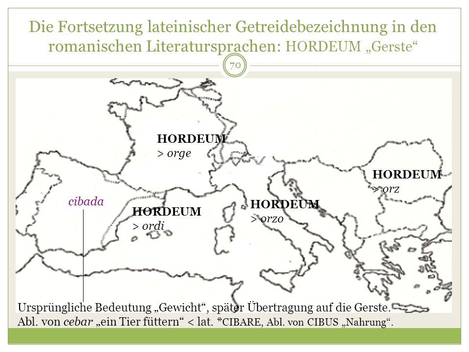 """Die Fortsetzung lateinischer Getreidebezeichnung in den romanischen Literatursprachen: HORDEUM """"Gerste"""