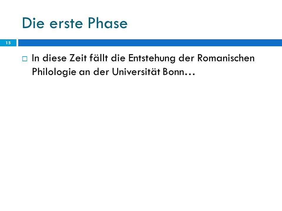 Die erste Phase In diese Zeit fällt die Entstehung der Romanischen Philologie an der Universität Bonn…