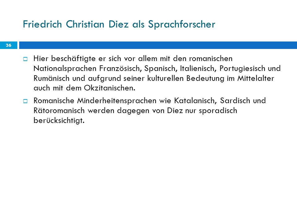 Friedrich Christian Diez als Sprachforscher