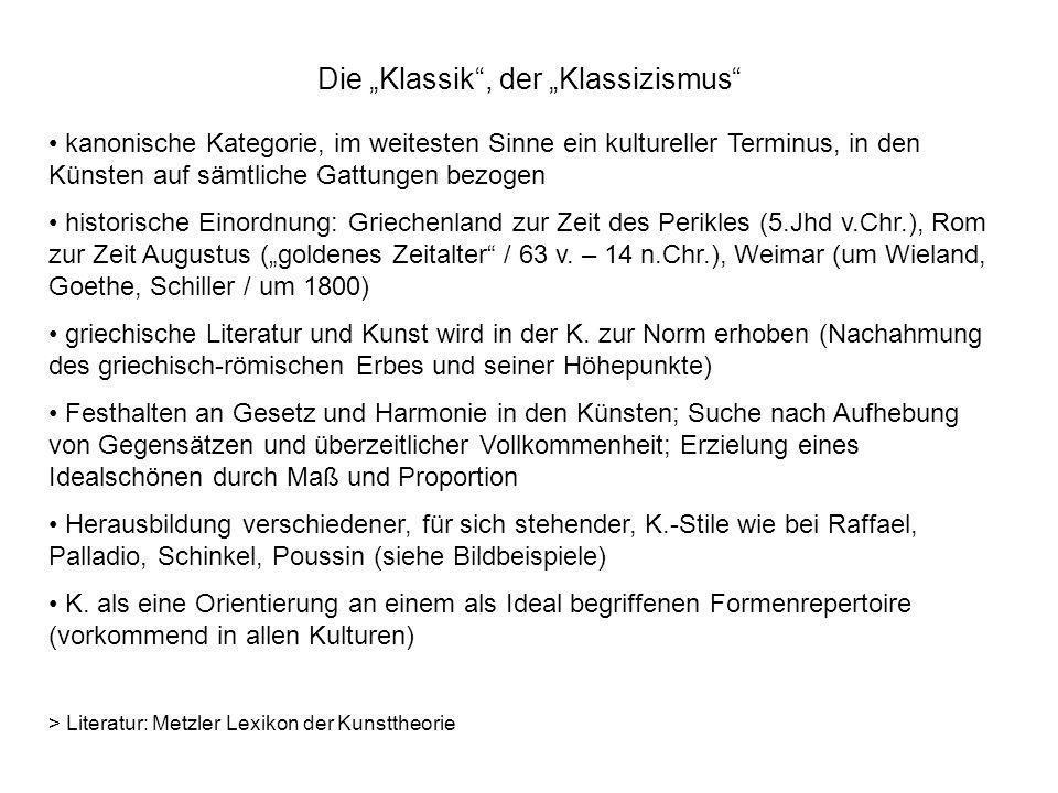 """Die """"Klassik , der """"Klassizismus"""
