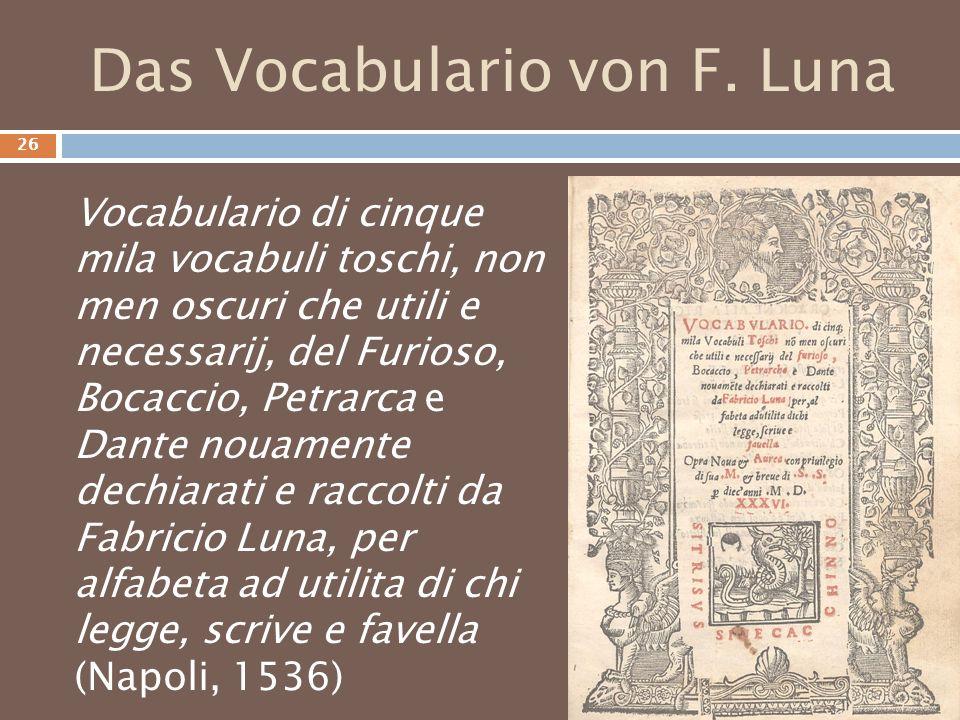Das Vocabulario von F. Luna
