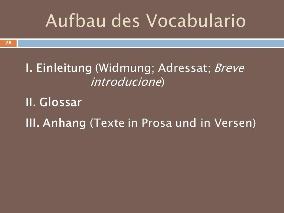 Aufbau des Vocabulario
