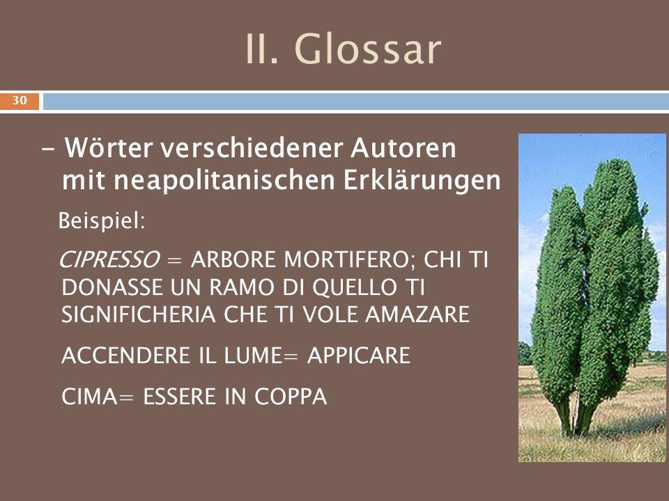 II. Glossar - Wörter verschiedener Autoren mit neapolitanischen Erklärungen. Beispiel: