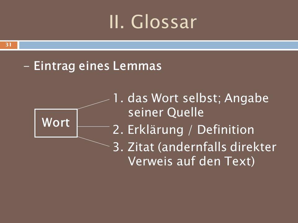 II. Glossar - Eintrag eines Lemmas