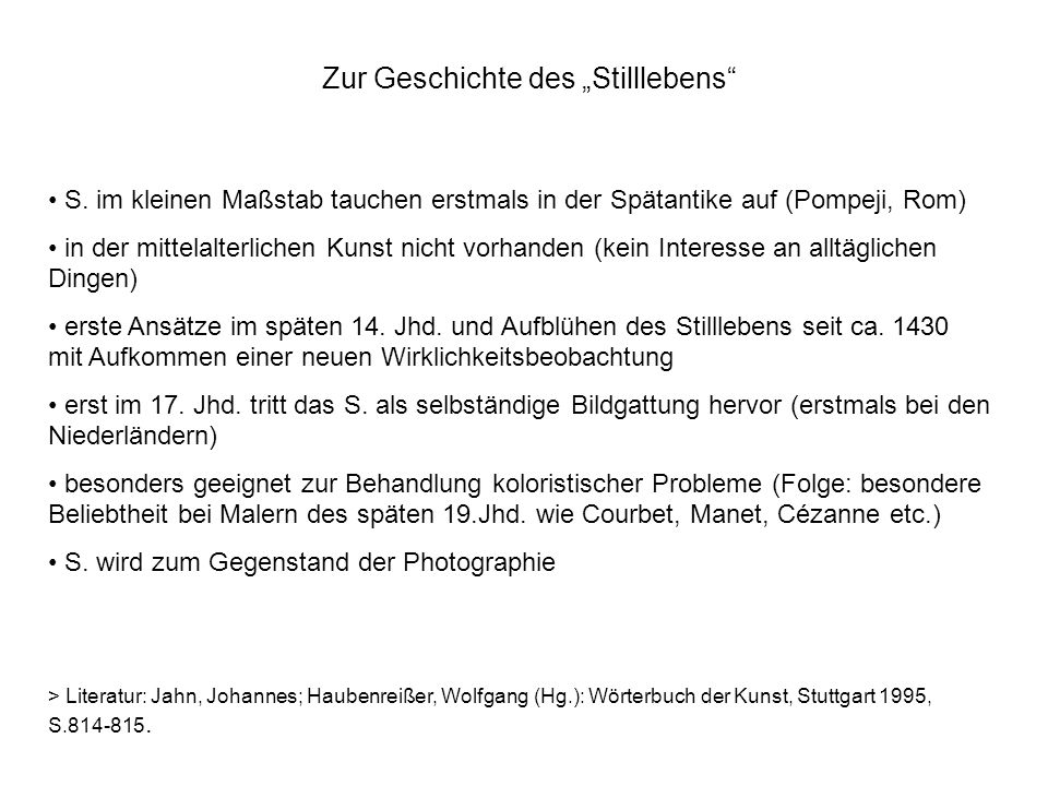 """Zur Geschichte des """"Stilllebens"""