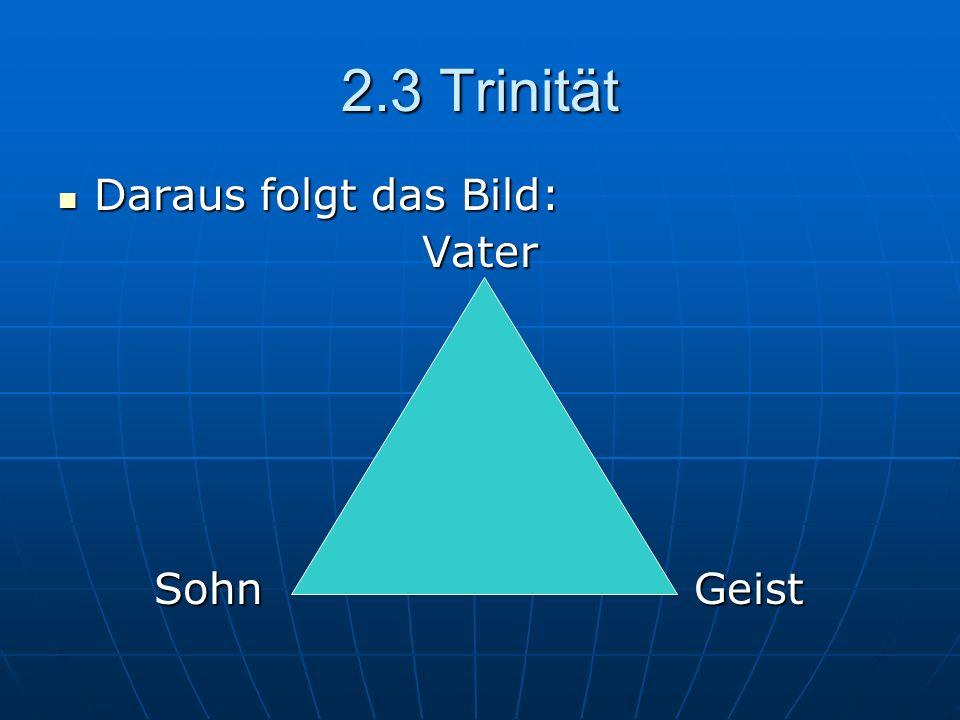 2.3 Trinität Daraus folgt das Bild: Vater Sohn Geist