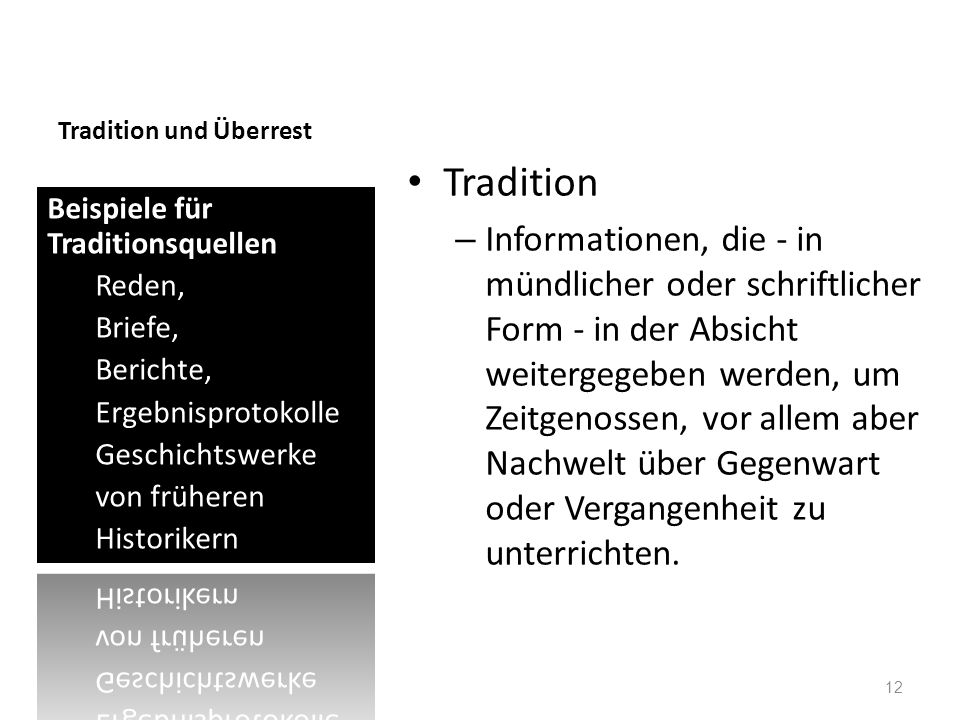 Tradition und Überrest