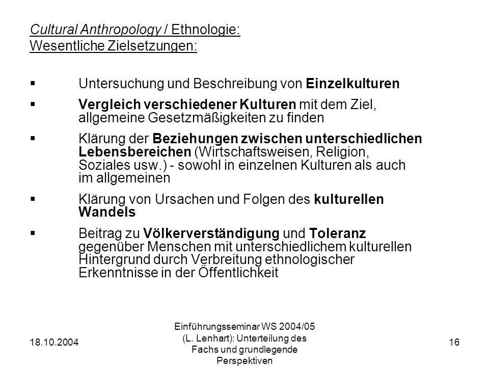 Cultural Anthropology / Ethnologie: Wesentliche Zielsetzungen: