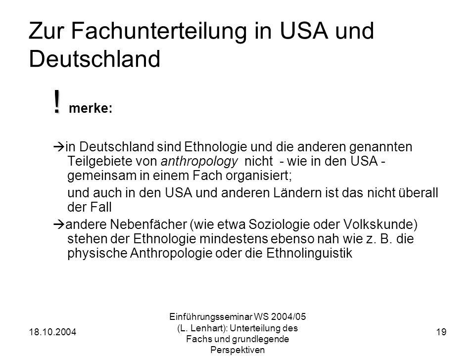 Zur Fachunterteilung in USA und Deutschland