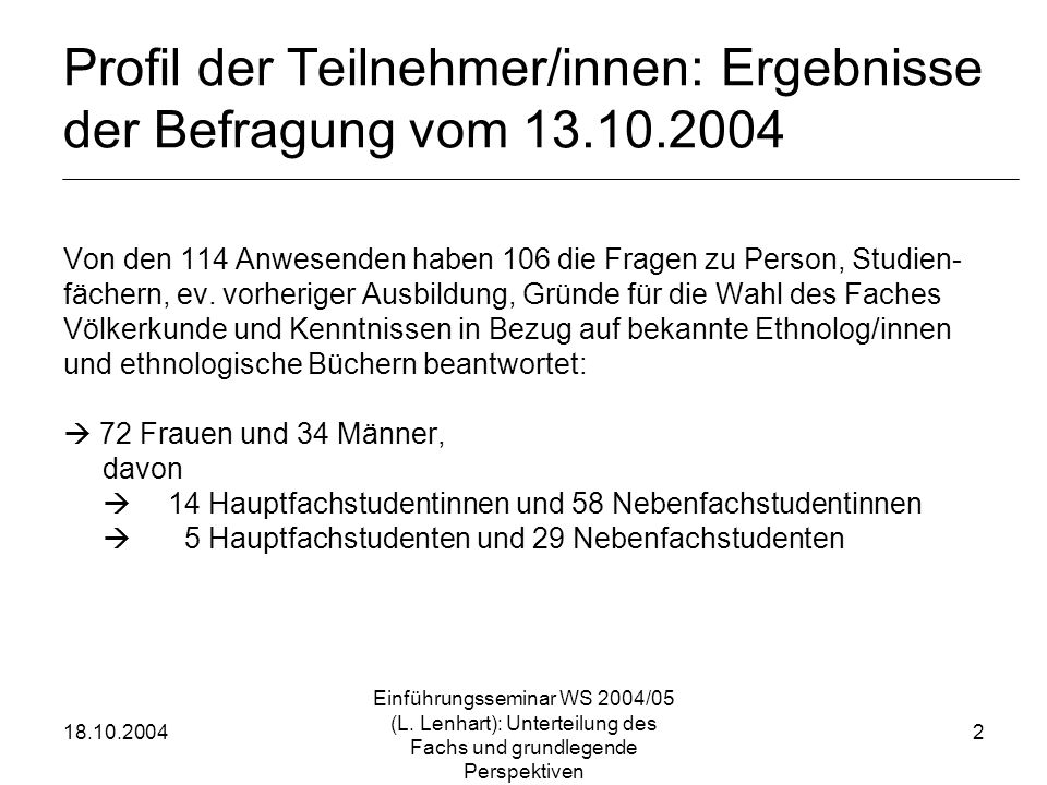 Profil der Teilnehmer/innen: Ergebnisse der Befragung vom 13.10.2004
