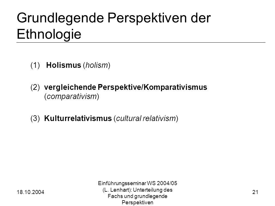 Grundlegende Perspektiven der Ethnologie