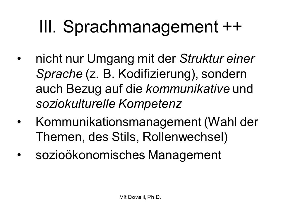 III. Sprachmanagement ++