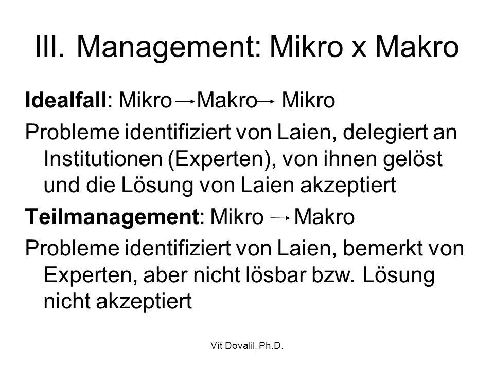 III. Management: Mikro x Makro