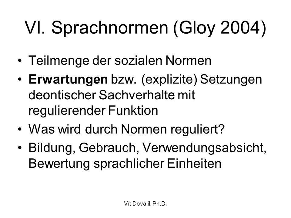 VI. Sprachnormen (Gloy 2004)